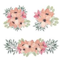 bloemen roze arrangement collectie aquarel set