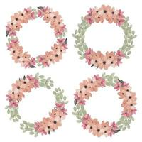 Watercolor Floral Circle Frame Set  vector
