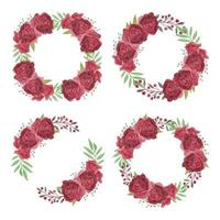 Burgundy Watercolor Rose Flower Wreath Collection vector