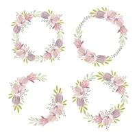 Watercolor Floral Wreath with Magnolia Spring Collection