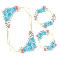 Rustic Floral Frame Watercolor Blue Peony Flower Set