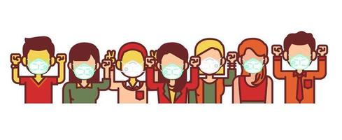 People wearing medical mask  vector