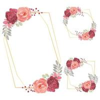 Watercolor Floral Frame Collection with Rose Flower