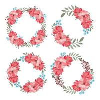 Watercolor Beautiful Flower Circle Frame Collection Set vector