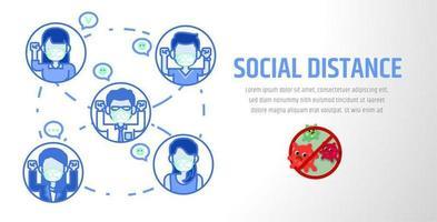 Las personas que usan la máscara con la atención social a distancia ilustración vectorial. vector