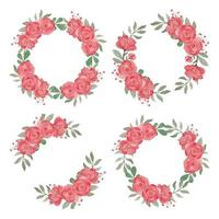 Red Rose Flower Wreath Hand Painted Watercolor Style Set vector