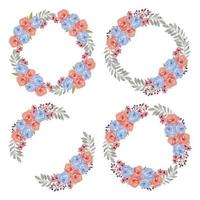 Watercolor Colorful Rose Blue Flower Wreath Set vector