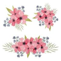 Watercolor Cherry Blossom Flower Bouquet Collection