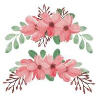 Hand Painted Spring Cherry Blossom Flower Arrangement Set vector