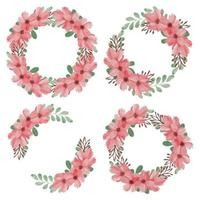 Cherry Blossom Watercolor Flower Wreath Set vector