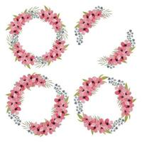 Watercolor Pink Petal Cherry Blossom  Flower Wreath Collection vector