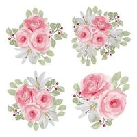 Rose Flower Watercolor Collection in Pink Color
