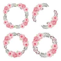 Pink Rose Flower Wreath Watercolor Collection vector