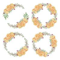 Watercolor Flower Wreath with Yellow Lotus Set vector