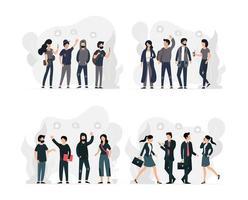 Conjunto de jóvenes grupos de hombres y mujeres sociales y profesionales.