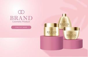 Cosmetic Face Cream Banner with 3d Bottles