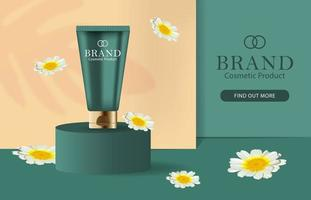 Cosmetic Cream Banner with 3D Lotion Bottle