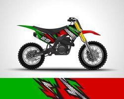 Green motocross wrap decal  vector