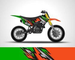 etiqueta de envoltura de motocross verde vector