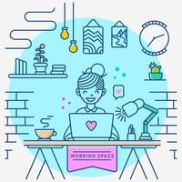 Work Home Workspace  vector