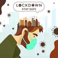 Lock Down Coronavirus  vector