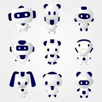 Modern Shape Cute Robot Icon Set