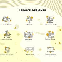 Service Designer Monoline Icons vector