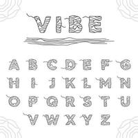 Abstract Alphabet Wavy Line Art