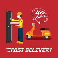 Cartoon Style Man Delivering Pizza