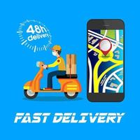 Delivery Poster with Man on Scooter and Phone vector