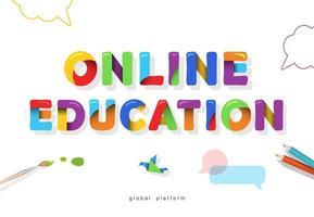 banner brillante de educación en línea vector