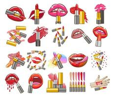 Lipstick and Lips Set  vector