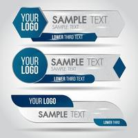 Lower Third Blue Geometric Banner Set vector
