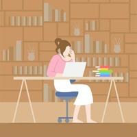 Woman Working at Desk at Home  vector