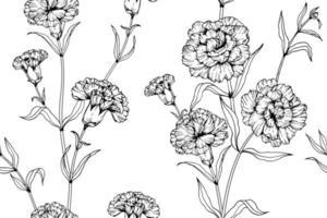 Dibujado a mano clavel flor de patrones sin fisuras vector