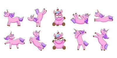 conjunto de estilo de unicórnio rosa kawaii vetor