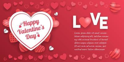 banner de San Valentín con decoraciones de corazón