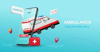 24 Hour Health Care Poster with Ambulance and Phone vector