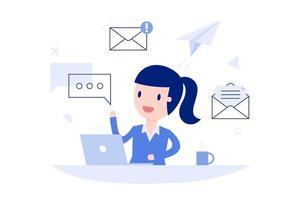 mujer de negocios de dibujos animados enviando mensajes