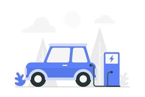 Cartoon Electric Car Charing at Charge Station vector