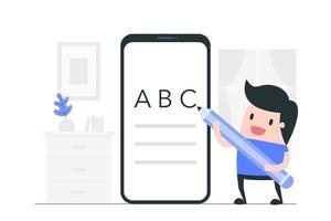 niño de dibujos animados trabajando en teléfono inteligente