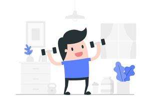 Cartoon Man Working Out at Home vector