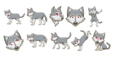 Wolf Kawaii Style Set  vector