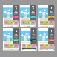 Colorful Sectioned Real Estate Flyer Set vector