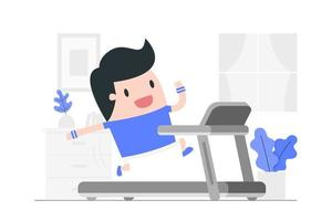 Young man running on a treadmill at home.