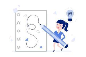 mulher de negócios dos desenhos animados, escrevendo idéias vetor