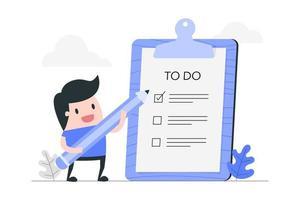 Cartoon Man with To Do List on Clipboard vector