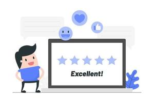 Cartoon Man Giving Star Rating
