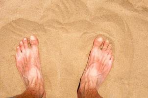 Male`s foot on sand