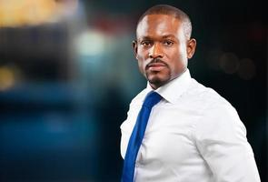 Confident black male manager portrait photo